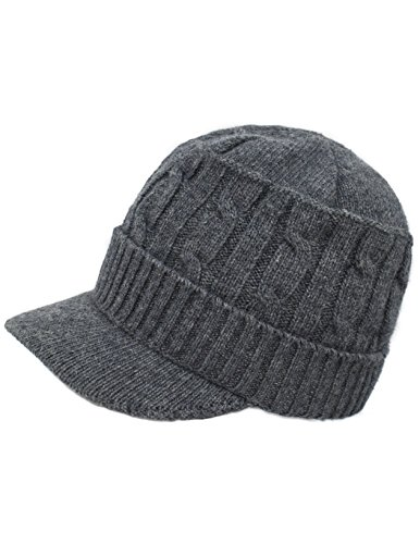 Dahlia Women's Soft & Warm Velour Lined Cable Knit Visor Cap Hat - Gray -