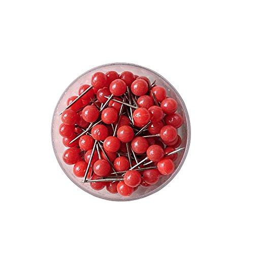 Axesickle 100 Pcs Red Colors Push Pins Map Tacks 1 8