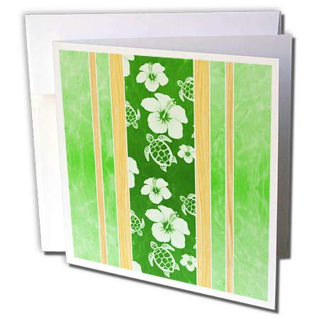 3dRose Macdonald Creative Studios – Hawaii - Green and White Striped Hawaiian Design of Flowers and Turtles. - 6 Greeting Cards with envelopes (gc_296204_1)