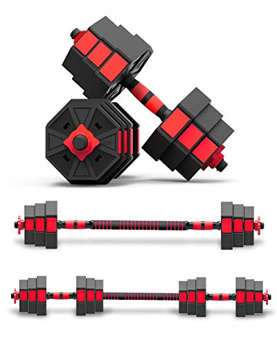 BIERDORF Adjustable Dumbbells Barbells 2 in 1 66lbs for Home Gym Office Free Weights Dumbbells Set for Body Fitness and…