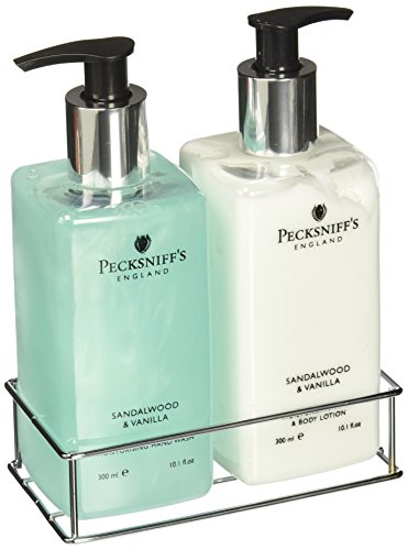 Pecksniffs Sandalwood and Vanilla Hand Wash and Body Lotion Set-10.1 fl.oz - Lotion Caddy Set