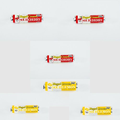 Regal Crown Sour Cherry And Sour Lemon 6 Pack Mix - Individually Wrapped Retro Hard ()