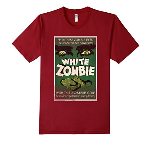 Men's White Zombie Retro Vintage Poster Movie T-Shirt Men Women Small Cranberry (Mummy King Adult Costume)