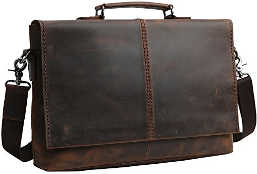 "Iswee Leather Messenger Bag 14""Laptop Briefcase Flap Office Men' Bag Vintage Shoulder Bag For Men by Iswee"