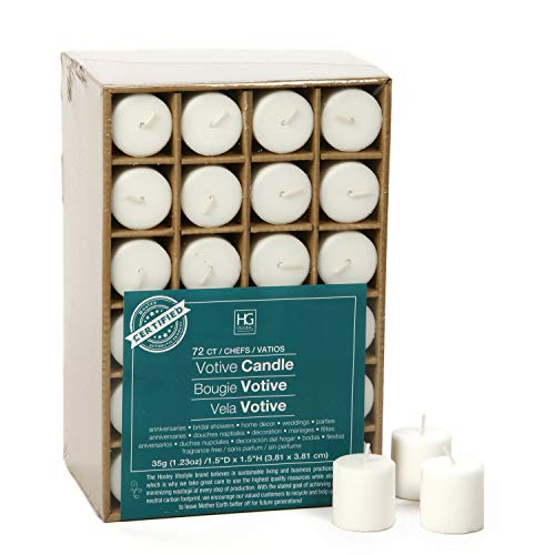 Hosley Set of 72 Unscented White Votive Candles up to 10-Hours. Bulk Buy. Wax Blend. Ideal for Weddings, Birthday, Aromatherapy, Party, Candle Gardens ()