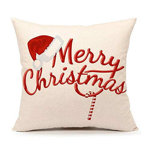 4TH Emotion Red Merry Christmas Pillow Cover Decorative Throw Cushion Case Home Decor 18 x 18 Inch Cotton Linen for Sofa (Pillow Christmas Merry)