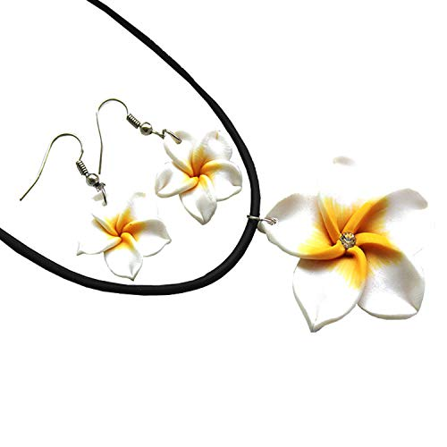 (Donau Plumeria Fimo Flower Earring Pendant Necklace Jewelry Set 6Colors)