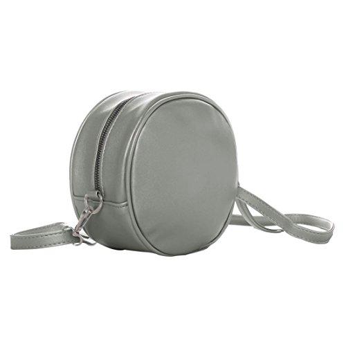 PU R Ronde gris sac amovible zip Fermeture gris bandouliere femmes SODIAL bandouliere HBx1qdawa8
