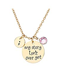 "Silver /Gold Tone Rhinestone ""My story isn't over yet."" Engraved Letter Inspiration Pendant Necklace"