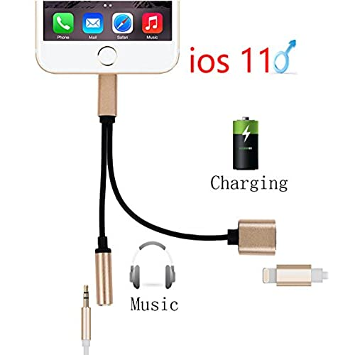 durable modeling latest version in 1 Lightning to 3.5mm Audio Adapter, Lightning Charger, Lightning to 3.5mm Aux Headphone Jack Adapter for iphone X  iphone8 iphone7  (Audio + Charge) Compatible with iOS 11