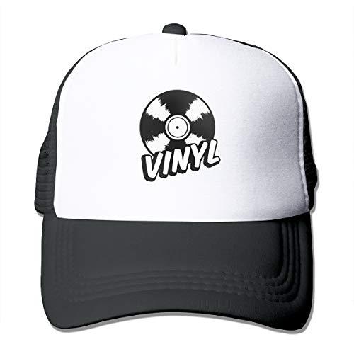 CZD76 Vinyl Unisex Grid Hat Baseball Cap Adjustable Hat Black ()
