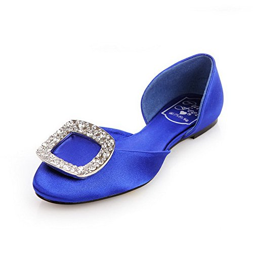 VogueZone009 Womens Closed Round Toe Soft Material Solid D-orsay Pumps with Glass Diamond, Blue, 5 UK
