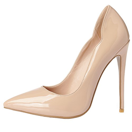 Luxury High Shoes Pumps Leather Patent Point Beige Comfortable ZAPROMA Heels Zabsolute Toe Women's Stilettos Sexy wROffqXxE