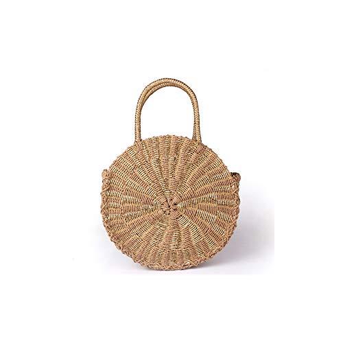 SHUIBIAN Women Straw Crossbody Bag Crochet Shoulder Summer Bag Round Handbags Beach Bag (Gold)