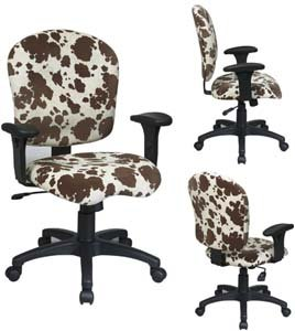 Sculptured Task Chair with Adjustable Arms and Grade A Gavotte Pattern Fabric, Taupe