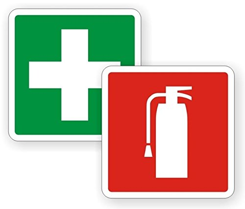 2 PCs Imposing Unique Fire Extinguisher and First Aid Symbol Window Stickers Sign Mac Apple Macbook Laptop Luggage Hoverboard Graphics Vinyl Sticker Decals Patches Decor Size 4