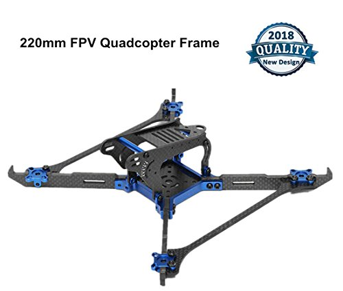 Crazepony 140 FPV Drone Frame Carbon Fiber with 4mm Arms Vertical CNC,X Frame Quadcopter Kit for 1408 1306 1407 1606 Brushless Motor (Orange) (220 (Blue))
