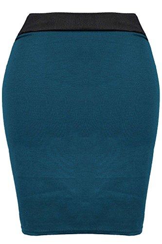Femmes Imprimé Pied De Poule PVC Simili Cuir PU Bodycon Extensible Court Mini Tube Jupe Grande Taille - Bande Mini Jupe Sarcelle, Grande taille (EU 44/46)