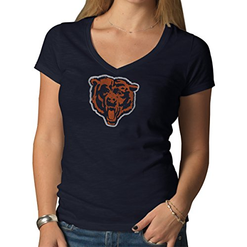 NFL Chicago Bears Vintage V-Neck Scrum Women's T-Shirt, Medium - Chicago Bears V-neck Pullover