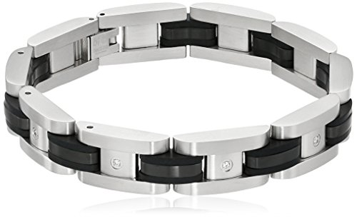 Mens Stainless Steel Two Tone Bracelet - Men's Stainless Steel Two-Tone Black 0.10 cttw Diamond Bracelet, 8.25