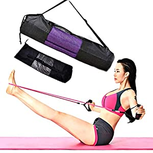 Hankyky Yoga Mat Storage Mesh Bag Drawstring Bags Adjustable Strap Carrier Breathable Organization Portable Yoga mat Carrier