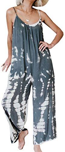 MAXIMGR Harem Jumpsuit Romper Women Strap Printed Bohemian Boho Loose Tie Dye Handkerchief Jumpsuits Size M(US 8) (Grey)