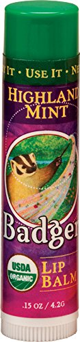 Badger Highland Mint Classic Lip Balm - 0.15oz Stick (Balm Ounce 0.15)
