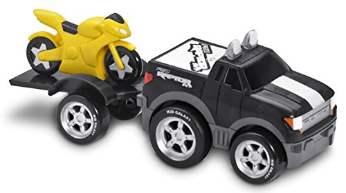 Kid Galaxy Squeezable Pull Back Ford F150 Pick Up Truck with Motorcycle and Trailer. Toddler Wind Up Vehicle Playset (Pick Up Truck For Kids)