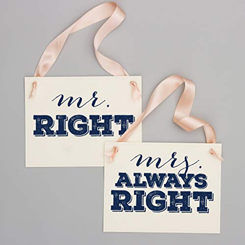 Mr Right + Mrs Always Right Funny Wedding Signs   Set of 2 Banners for Bride & Groom Wedding Chairs   Navy Blue Ink & Blush Pink -