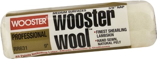 Wooster Brush RR631-9 Wooster Wool Roller Cover 3/8-Inch Nap, (Wool Market)