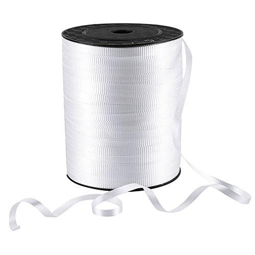 LOKIPA 500 Yard White Crimped Curling Ribbon for Balloons Spool Curling Ribbon 500 Yard Spool