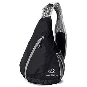 WATERFLY Packable Shoulder Backpack Sling Chest CrossBody Bag Cover Pack Rucksack for Bicycle Sport Hiking Travel Camping Bookbag Men Women