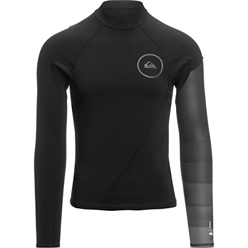 (Quiksilver 1mm Syncro Series New Wave Men's Top Wetsuits - Black/Jet Black / Medium)