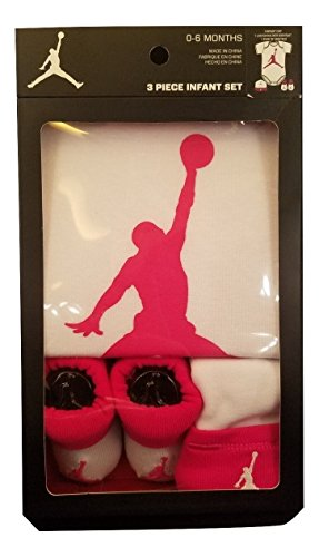 Nike Jordan Jumpman Infant 3 Piece Set White and Pink Bodysuit, Hat, Booties - 0-6M (Pink and