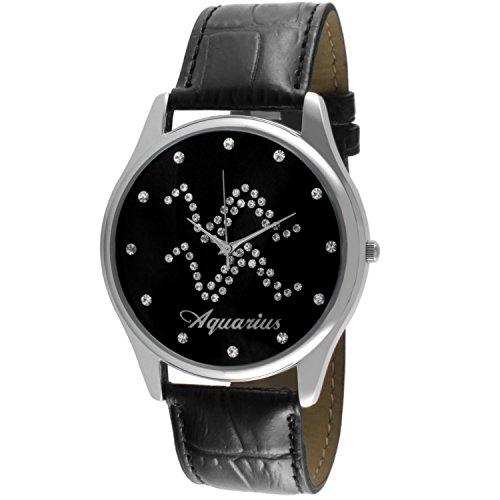 crystal-studded-face-zodiac-horoscope-black-leather-silver-watch-aquarius
