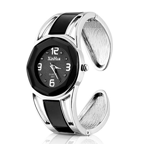 ELEOPTION Women's Bangle Watch Bracelet Design Quartz Watch with Rhinestone Round Dial Stainless Steel Band Wrist Watches Free Women's Watch Box (XINHUA-Black)