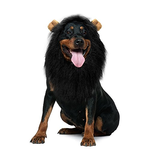 Lion's Mane Costume Wig (Lion Mane Wig,Adjustable Pet Costume with Ears for Dog,Party Festival Fancy Dress Up,Suitable for Medium to Large Sized Dogs(Black))