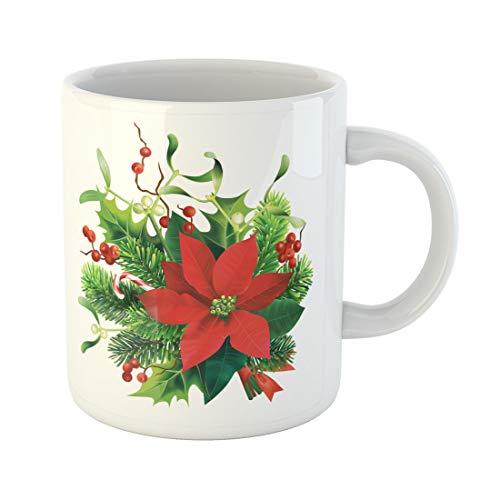 - Semtomn Funny Coffee Mug Green Christmas Fir Mistletoe Holly Branches and Poinsettia Flower 11 Oz Ceramic Coffee Mugs Tea Cup Best Gift Or Souvenir