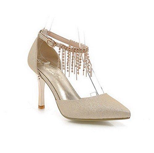 AmoonyFashion Womens Buckle Spikes Stilettos PU Solid Closed Toe Sandals Gold p6Fx6H92dL