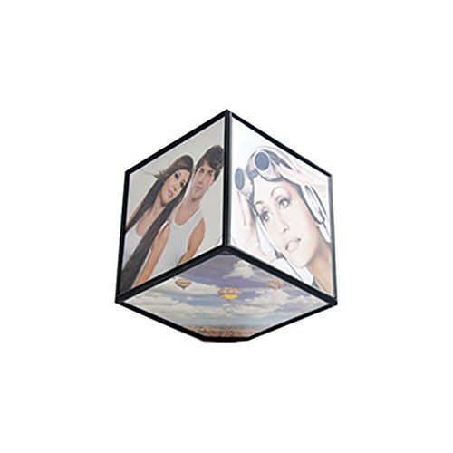 FunnyToday365 Automatic Rotating Photo Frame Fashion Plastic Cube 6 Photos Frame Pendulum Simple Modern Home Decoration Christmas Gifts