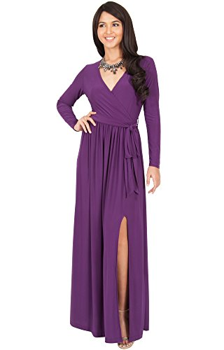 KOH KOH Womens Long Sleeve V-Neck Cross Over High Slit Cocktail Evening Gown Maxi Dress – Small, Purple