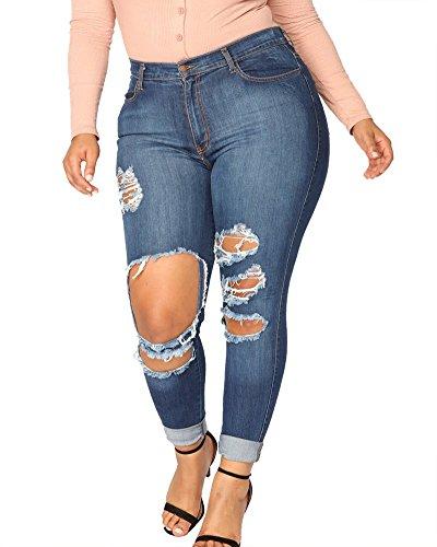 Jean Bleu Collants Casual En Dchirs Taille Jeans Trous Pantalon Femme Hautes xwqaIvw