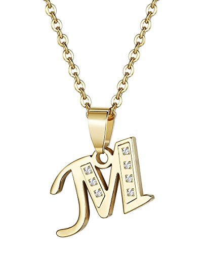 Udalyn Stainless Steel Alphabet Pendent Necklace CZ Chain for Men Women Gold-Tone M