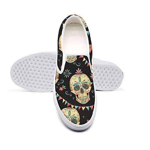 Skull Sugar face Colorful Flags Day of The Dead Men's Shoes Canvas Sneakers White Slipons Comfortable Casual Sneakers Running Shoes