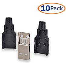 Conwork 10-Pack USB 2.0 Type A Male Socket 4 Pin Plug Connector with Black Plastic Cover