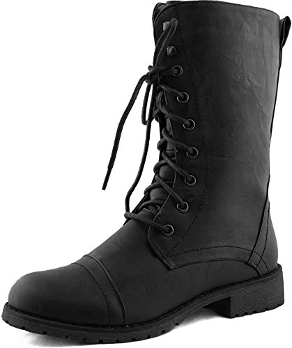 Lug 11 Womens Military Lace up Combat Boot Black 7