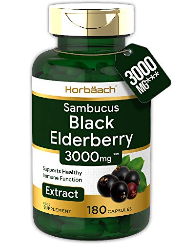 Black Elderberry Extract 3000mg | 180 Capsules | Immune Booster | Non-GMO, Gluten Free Sambucus Nigra Plant Supplement…