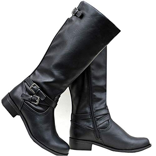 Syktkmx Womens Winter Knee High Boots Riding Military Moto Chunky Low Heel Straps Boots - Boot Knee Strap