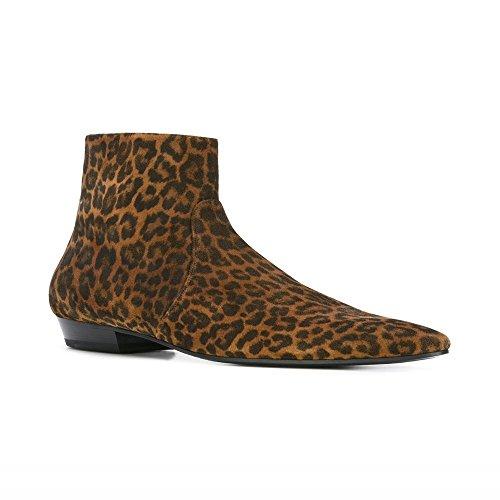 Jinfu Menns Leopard Semsket Spiss Tå Side Glidelås Spiss Tå Sko Chelsea  Ankelstøvletter (us 9