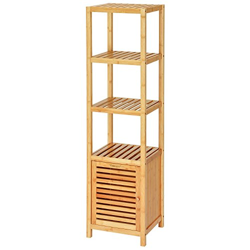 tall bathroom storage cabinets. Ollieroo Bamboo Bathroom Shelf 5 Tier Multi functional Storage Rack  Shelving Unit Size L14 2 x W13 H55 1 Tall Cabinets Amazon com